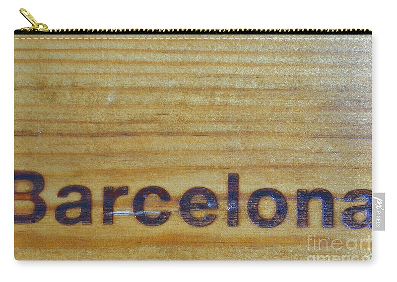 Text Carry-all Pouch featuring the digital art Barcelona by Jon Fennel
