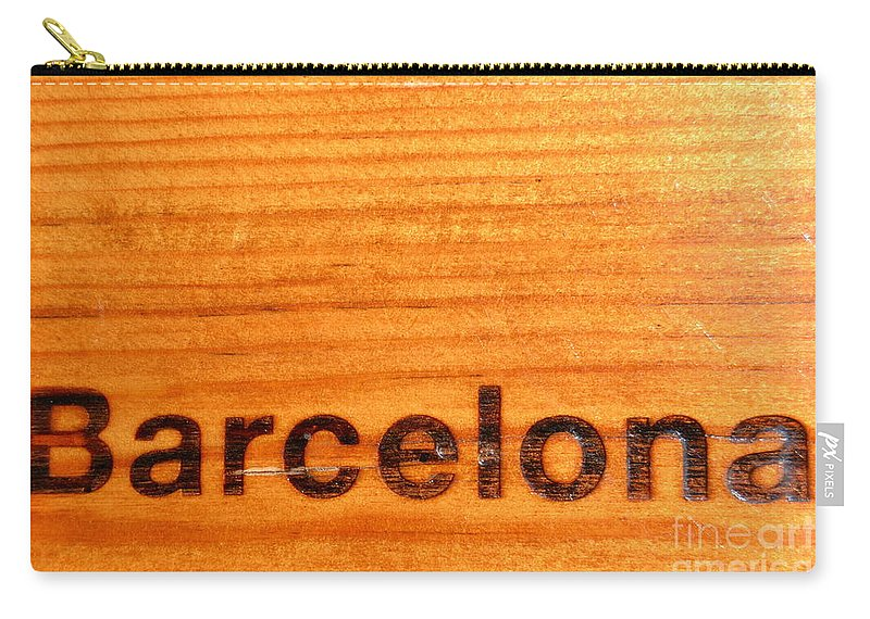Text Carry-all Pouch featuring the photograph Barcelona Text by Jon Fennel
