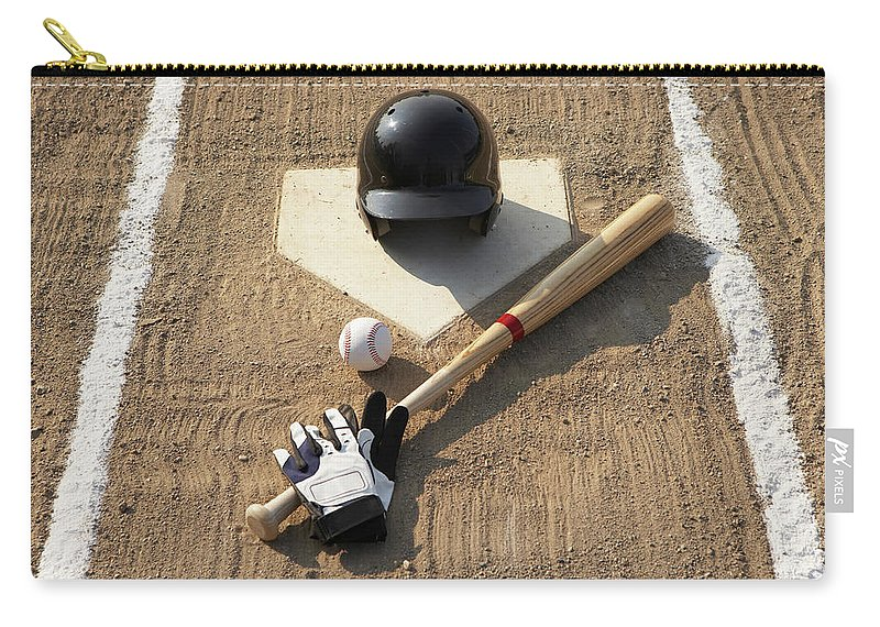 Shadow Carry-all Pouch featuring the photograph Baseball, Bat, Batting Gloves And by Thomas Northcut