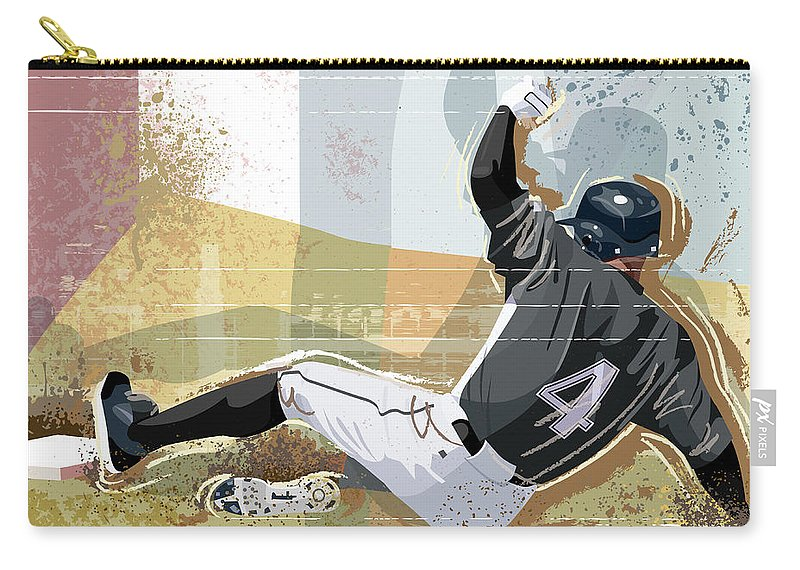 Sports Helmet Carry-all Pouch featuring the digital art Baseball Player Sliding Into Base by Greg Paprocki