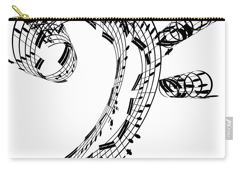 Sheet Music Carry-all Pouch featuring the digital art Bass Clef Made Of Music Notes by Ian Mckinnell