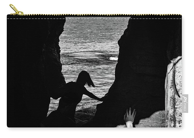 La Jolla Carry-all Pouch featuring the photograph Scene With A Jumping Thing by Robin Zygelman