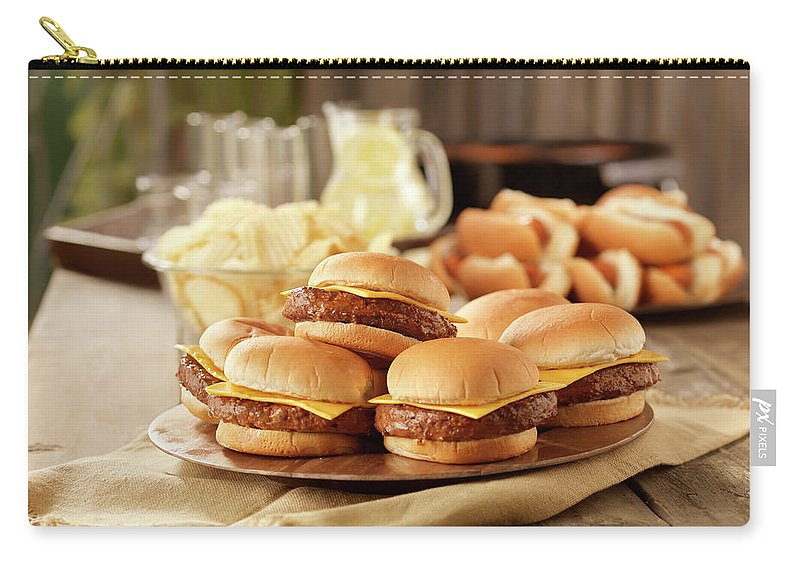 Cheese Carry-all Pouch featuring the photograph Bbq Cheese Burgers At A Picnic by Lauripatterson