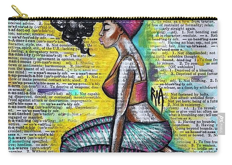 Words Carry-all Pouch featuring the painting Be Strong-Don't let them break you by Artist RiA