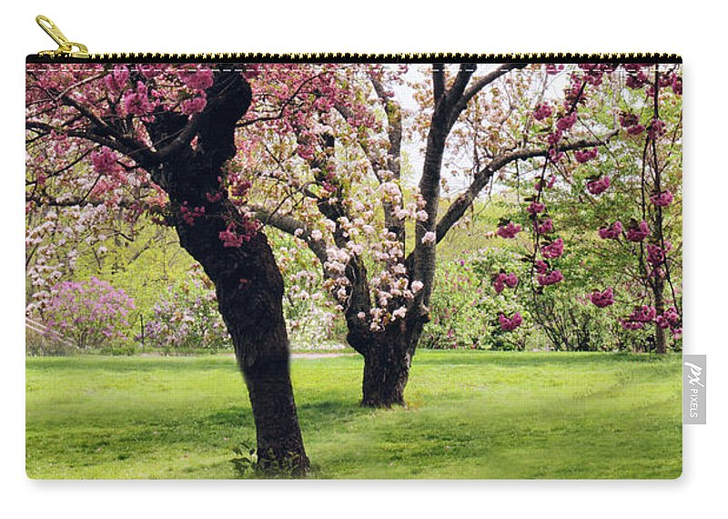 Cherry Trees Carry-all Pouch featuring the photograph Cherry Grove In Bloom by Jessica Jenney