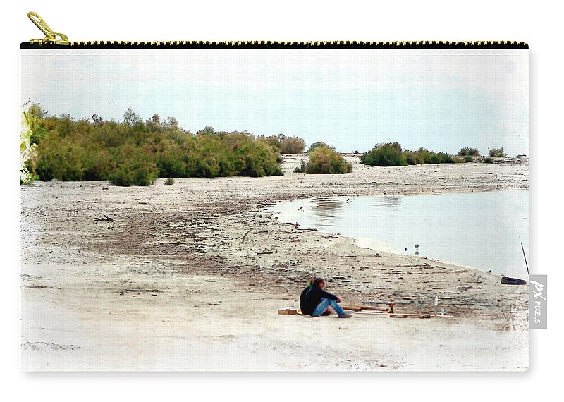 Watercolor Carry-all Pouch featuring the photograph Beach Goers-The Salton Sea in Digital Watercolor by Colleen Cornelius