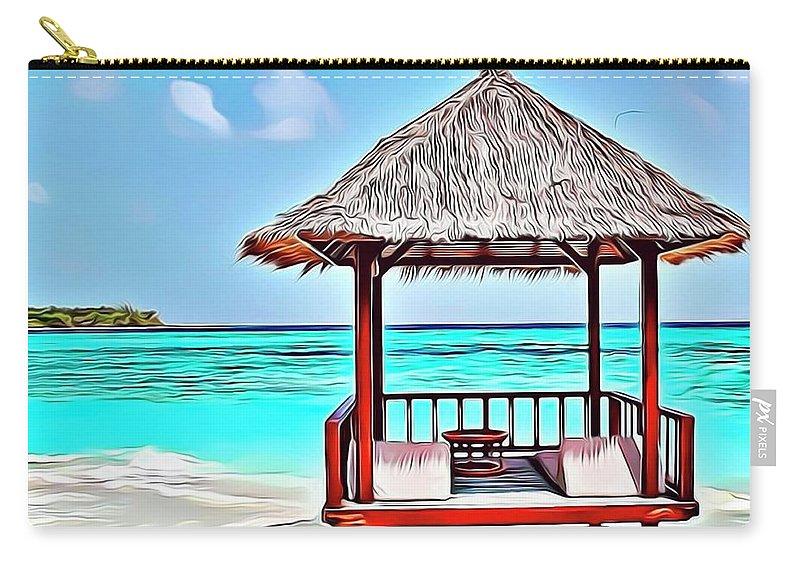 Ocean Carry-all Pouch featuring the digital art Beach Hut by Russ Carts