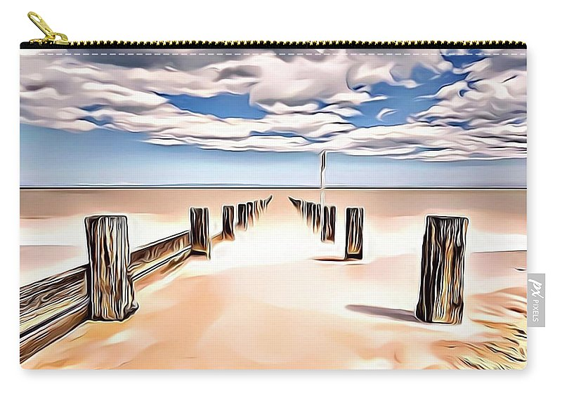 Ocean Carry-all Pouch featuring the digital art Beach Perpective by Russ Carts