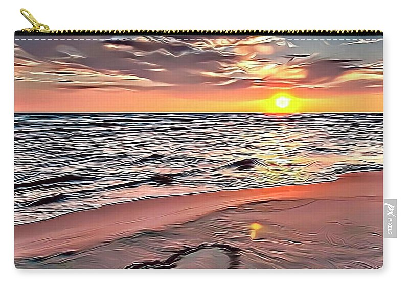 Ocean Carry-all Pouch featuring the digital art Beach Sunset by Russ Carts