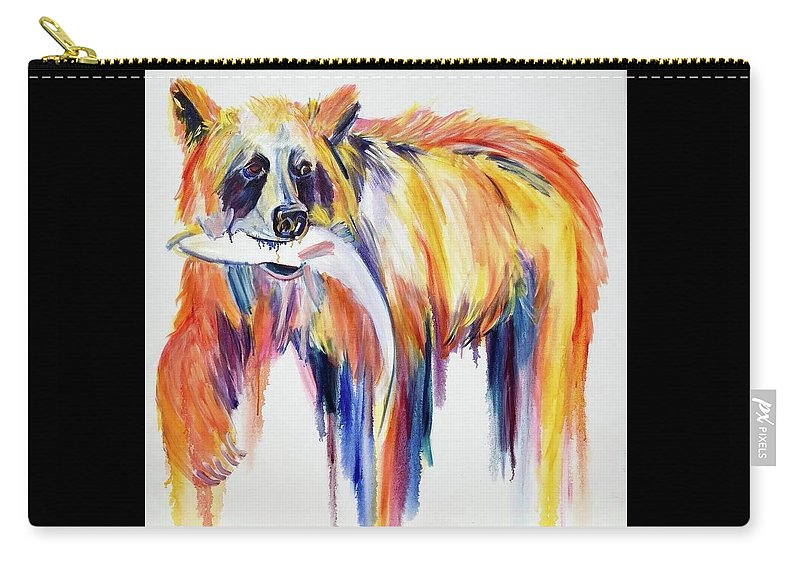 Bear Carry-all Pouch featuring the painting Bear Snack by Nickie Perrin Paintings
