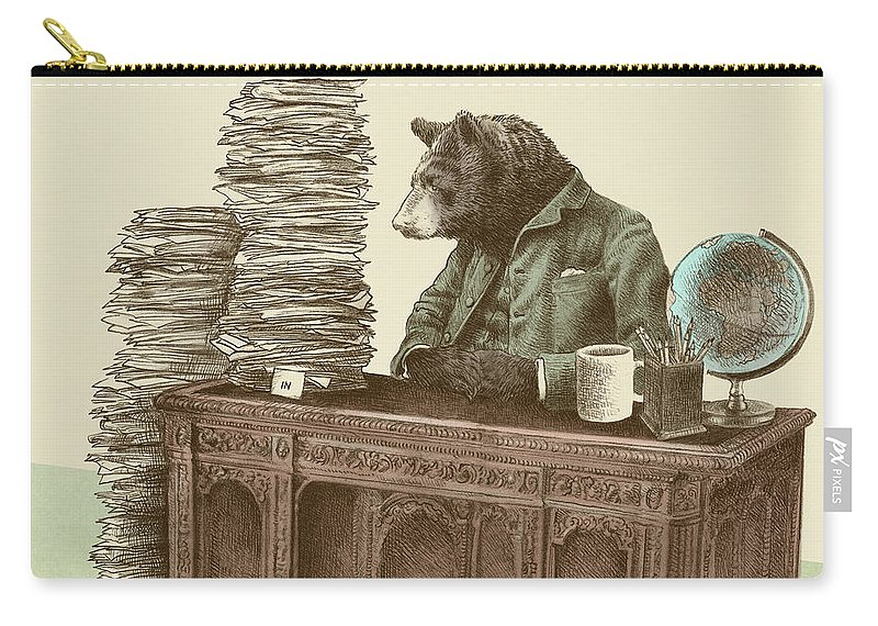 Bureaucrat Carry-all Pouch featuring the drawing Bearocrat by Eric Fan