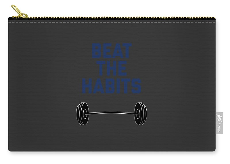 Squat-apparel Carry-all Pouch featuring the digital art Beat The Habits by Sourcing Graphic Design