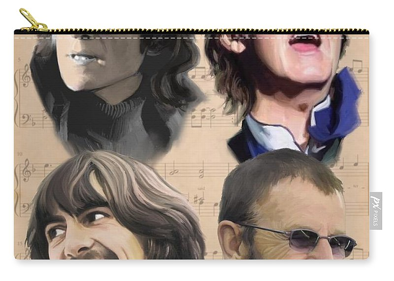 Beatles Carry-all Pouch featuring the painting Beatles Yesterday by Paul Tag