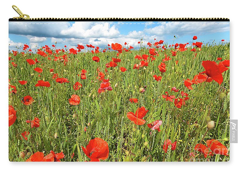Flower Carry-all Pouch featuring the photograph Beautiful Fields Of Red Poppies by Malgorzata Larys
