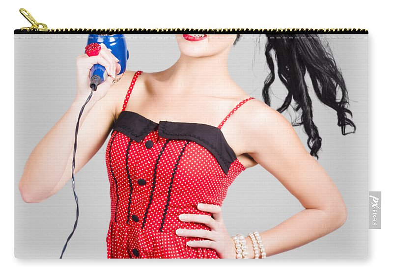 Salon Carry-all Pouch featuring the photograph Beauty Style Portrait Of A Elegant Hairdryer Woman by Jorgo Photography - Wall Art Gallery