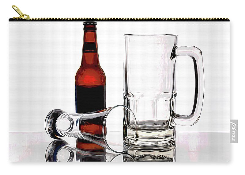 Beer Carry-all Pouch featuring the photograph Beer Bottle And Glasses by Tom Mc Nemar