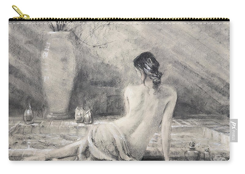 Bath Carry-all Pouch featuring the painting Before The Bath by Steve Henderson