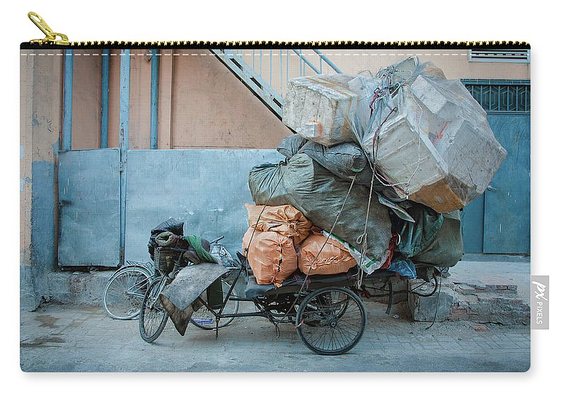 Tranquility Carry-all Pouch featuring the photograph Beijing Tricycle With Trash by Nora Tejada