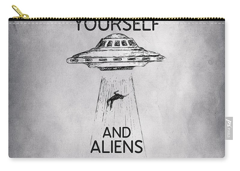 Believe In Yourself Carry-all Pouch featuring the drawing Believe In Yourself Quote by Zapista OU