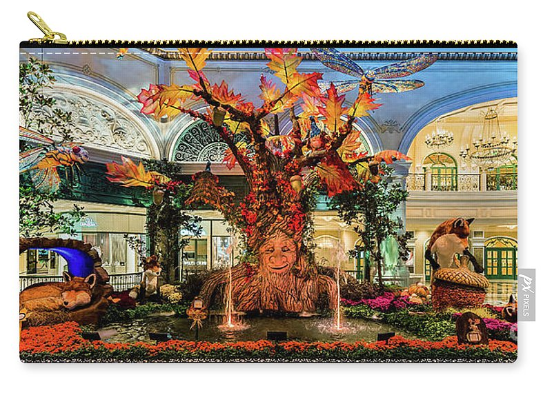Bellagio Conservatory Carry-all Pouch featuring the photograph Bellagio Conservatory Enchanted Talking Tree Ultra Wide 2018 2.5 To 1 Aspect Ratio by Aloha Art