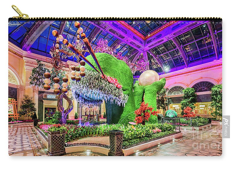 Bellagio Conservatory Carry-all Pouch featuring the photograph Bellagio Conservatory Spring Display Front Side View Wide 2018 2 To 1 Aspect Ratio by Aloha Art