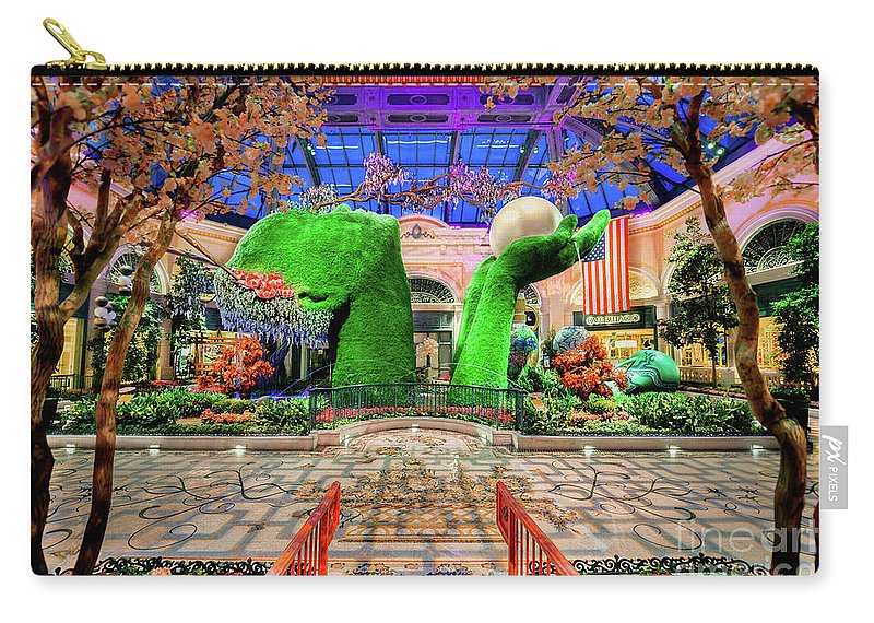 Bellagio Conservatory Carry-all Pouch featuring the photograph Bellagio Conservatory Spring Display Ultra Wide Trees 2018 by Aloha Art