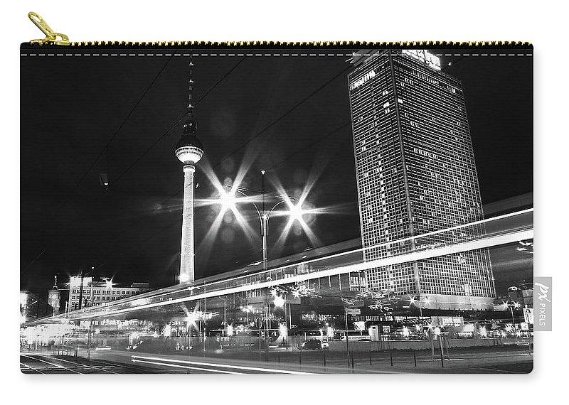 Alexanderplatz Carry-all Pouch featuring the photograph Berlin Alexanderplatz At Night by Bernd Schunack