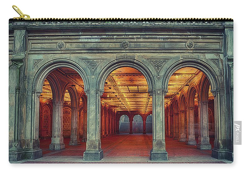 Arch Carry-all Pouch featuring the photograph Bethesda Terrace In Central Park - Hdr by Rontech2000
