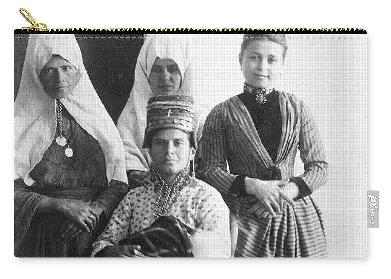 Bethlehem Carry-all Pouch featuring the photograph Bethlehem Women In 1886 by Munir Alawi
