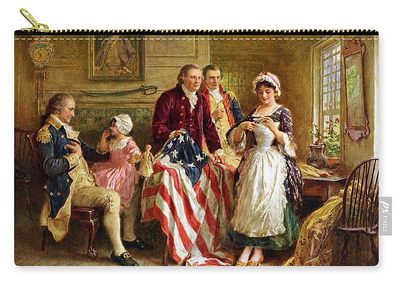 George Washington Carry-all Pouch featuring the painting Betsy Ross and General George Washington by War Is Hell Store