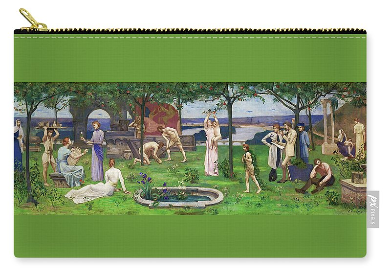 Between Art And Nature Carry-all Pouch featuring the painting Between Art And Nature - Digital Remastered Edition by Pierre Puvis de Chavannes