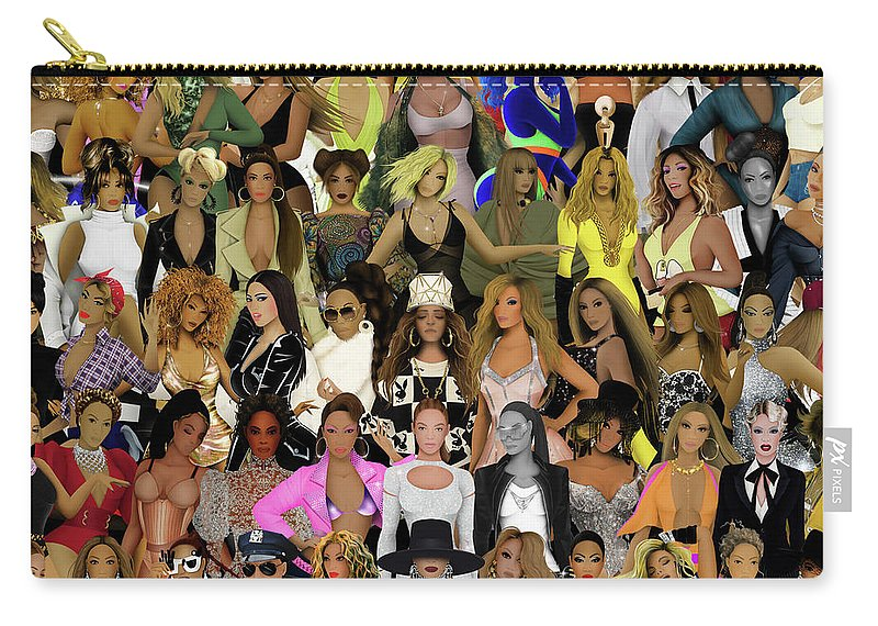Beyonce Carry-all Pouch featuring the digital art Beyonce - Collage by Bo Kev
