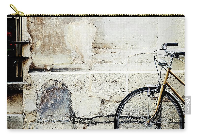 Tranquility Carry-all Pouch featuring the photograph Bicycle, Ile St Louis, Paris by Image - Natasha Maiolo