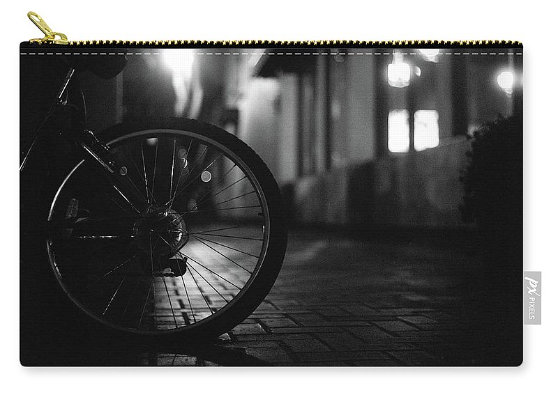 Shadow Carry-all Pouch featuring the photograph Bicycle In Dark Street by Satoshi Otani