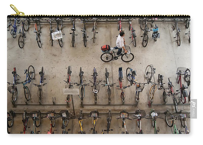 People Carry-all Pouch featuring the photograph Bicycle Park At Boon Lay Mrt Station by Kokkai Ng