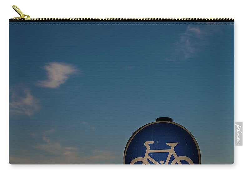 Outdoors Carry-all Pouch featuring the photograph Bicycle Sign With Sky by Photography By Stuart Mackenzie (disco~stu)