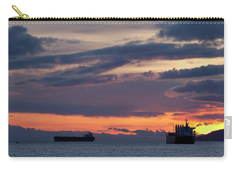 Scenics Carry-all Pouch featuring the photograph Big Boat Silhouettes by Visualcommunications
