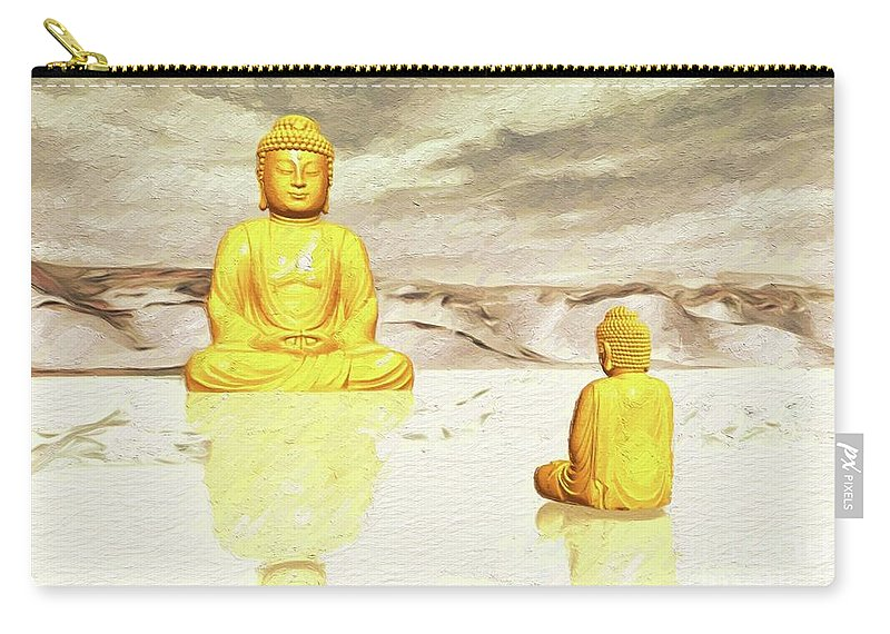 Buddha Carry-all Pouch featuring the painting Big Buddha, Little Buddha by Sarah Kirk