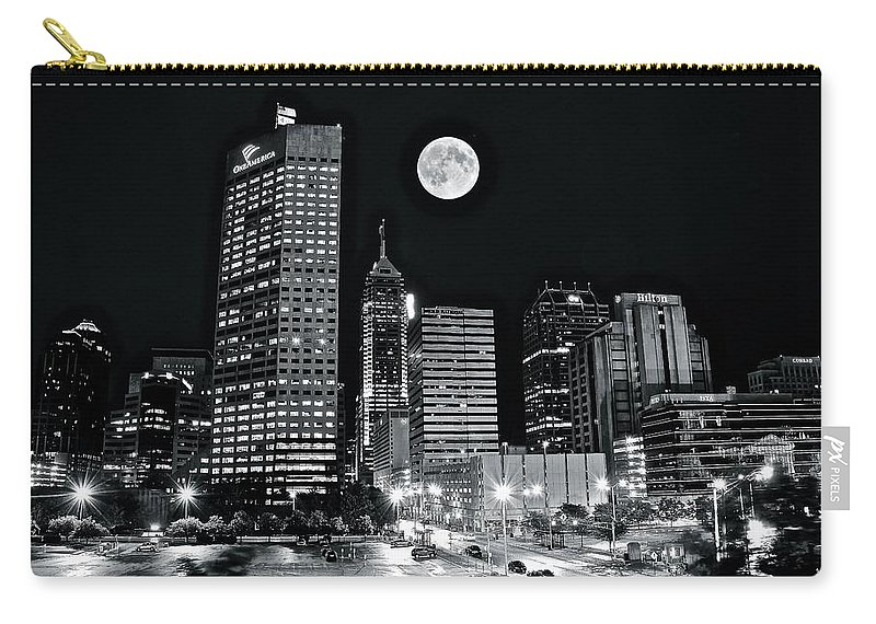Indianapolis Carry-all Pouch featuring the photograph Big Moon Indianapolis 2019 by Frozen in Time Fine Art Photography