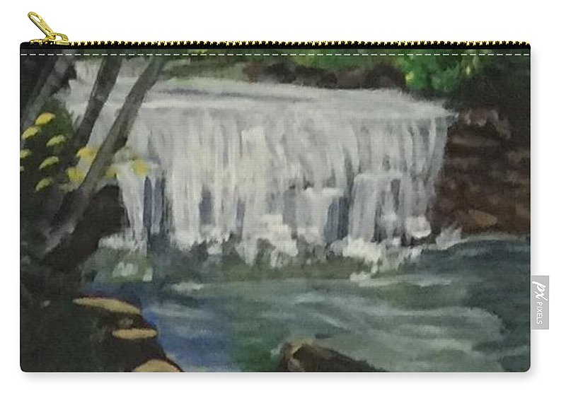 Waterfall Carry-all Pouch featuring the painting Big Waterfall by Julie Thomas-Zucker