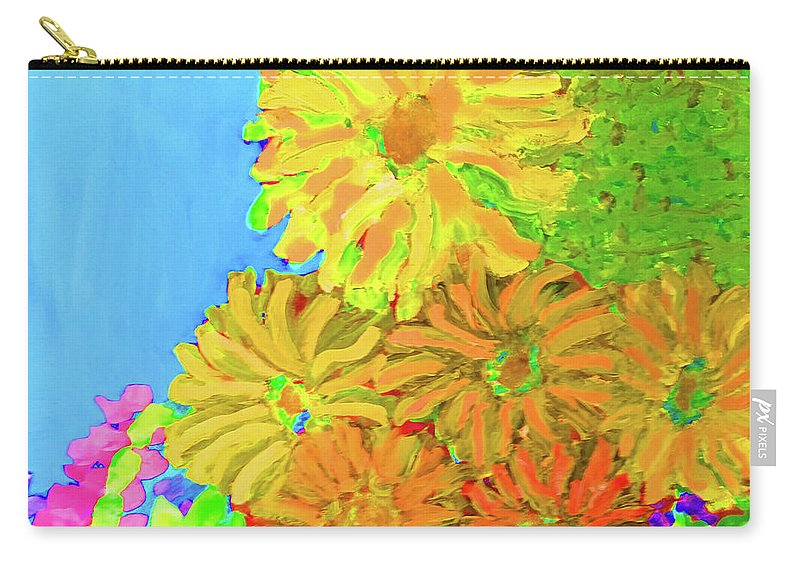 Large Flowers Carry-all Pouch featuring the painting Biggie Flowers Sky by Karen Szybalski