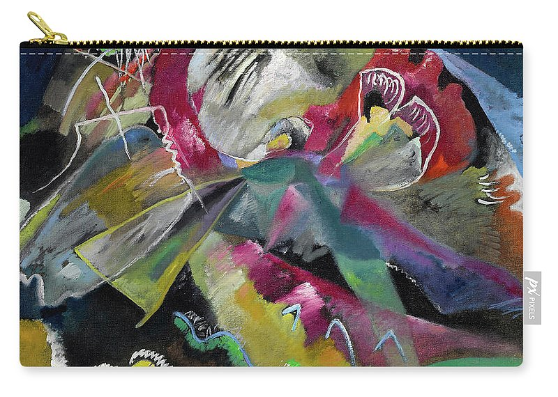 Kandinsky White Lines Carry-all Pouch featuring the painting Bild Mit Weissen Linien - Painting With White Lines by Wassily Kandinsky