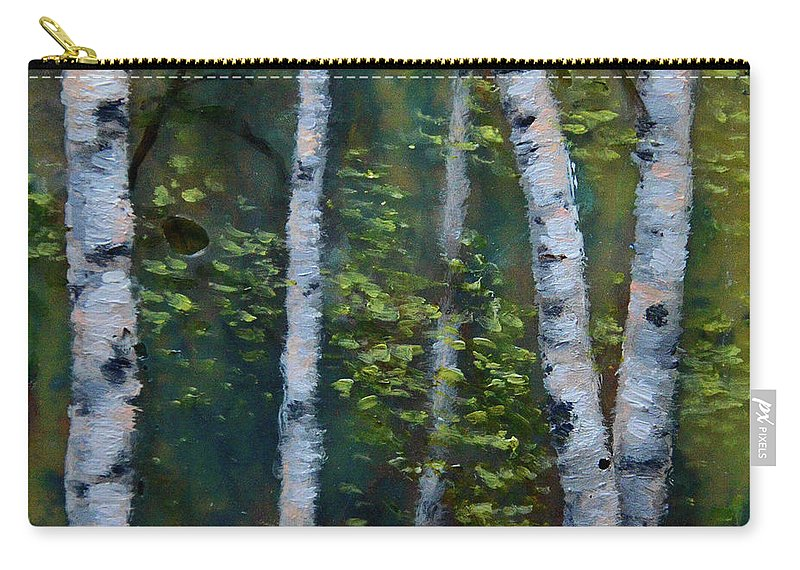 Acrylic Carry-all Pouch featuring the painting Birch Portrait II by Melissa Peterson