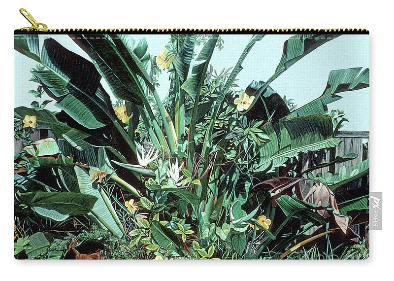 Sofa Painting Carry-all Pouch featuring the painting Bird Of Paradise by Caren Keyser