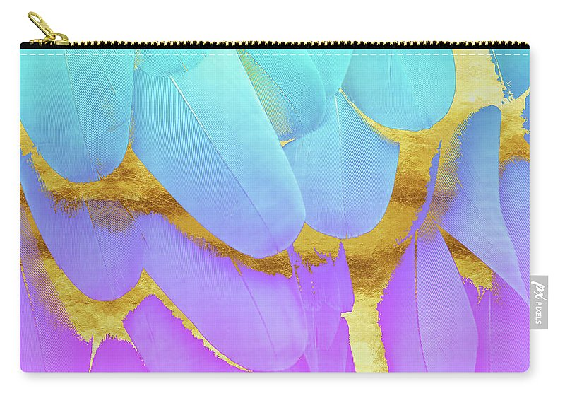 Feathers Carry-all Pouch featuring the digital art Bird Of Paradise Feathers Modern Art In Teal Purple Gold by Tina Lavoie