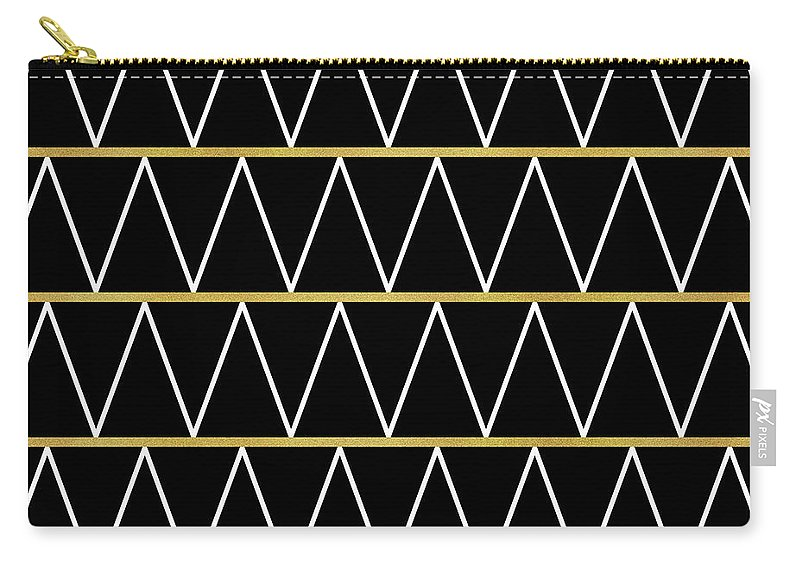 Graphic-design Carry-all Pouch featuring the digital art Black And Gold Zigzag by Absentis Designs