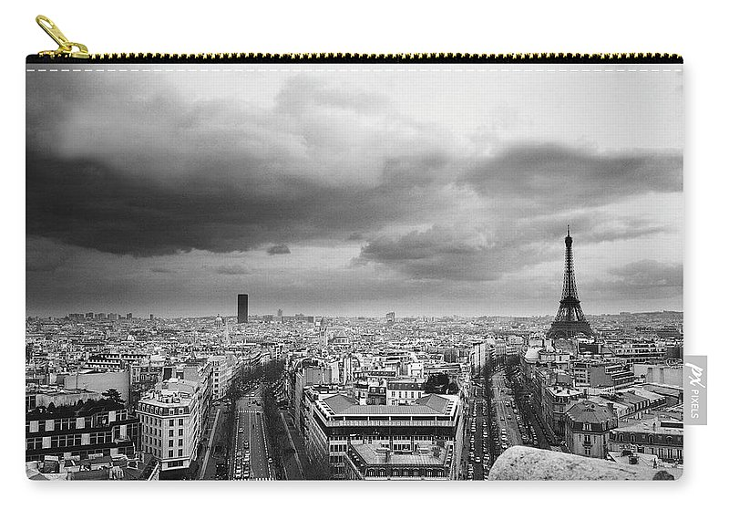 Black Color Carry-all Pouch featuring the photograph Black And White Aerial View Of An by Stockbyte