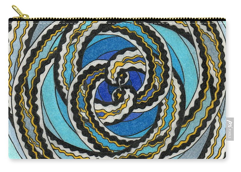 Fractal Art. Carry-all Pouch featuring the painting Black And White Fractal Design, Multicolored Background by Joney Jackson