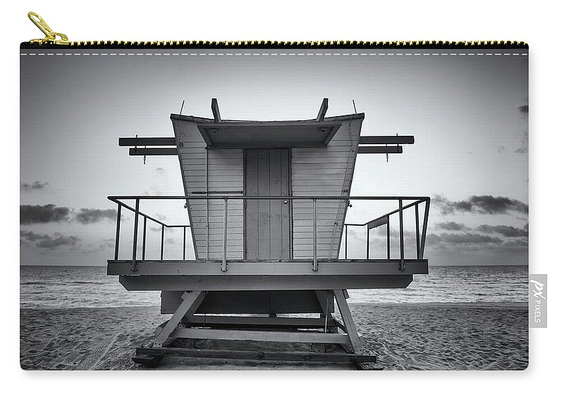 Outdoors Carry-all Pouch featuring the photograph Black And White Lifeguard Stand In by Boogich