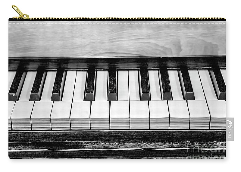 Black And White Carry-all Pouch featuring the photograph Black And White Piano by Elisabeth Lucas
